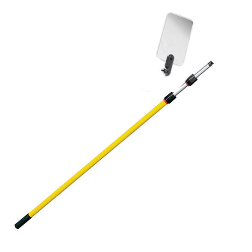Inspection Mirror Telescoping 4 ft - 12 ft Pole with 3.5 in x 6 in Acrylic Mirror