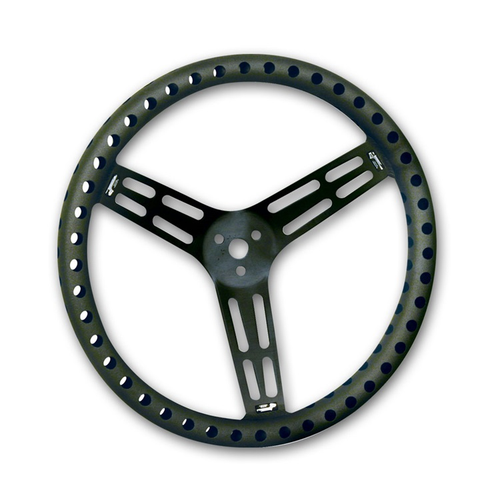 "Longacre 14"" Uncoated Black Aluminum - DRILLED - Dished (52-56833)"