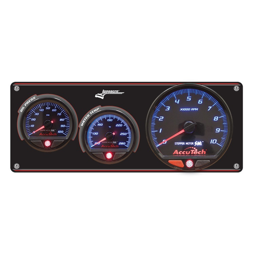 2 Gauge Aluminum Panel with AccuTech™ SMi™ Gauges & Tach - Oil Press, Water Temp (52-44470)