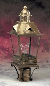 Trapezoid Detailed Post Lantern - Small Shown with Antique Brass Finish