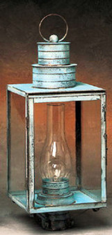Williamsburg Post Lantern - Large Shown with Verde Green Finish; Only Available with Drawn Antique Glass