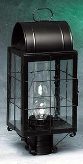 Arch Post Lantern - Small Shown with Black Finish, Seedy Glass and H Wire Cage