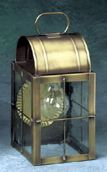 Arch Wall Lantern - Small Shown with Antique Brass Finish, Seedy Glass and H Wire Cage