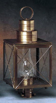 Williamsburg Post Lantern - Medium Shown with Antique Brass Finish, Seedy Glass and X Wire Cage