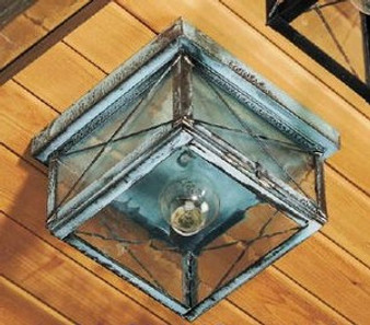 Square Ceiling Light - Medium Shown with Verde Green Finish, Seedy Glass and X Wire Cage