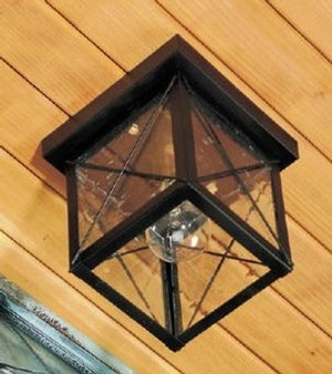 Square Ceiling Light - Small Shown with Black Finish, Seedy Glass and X Wire Cage