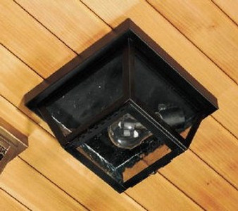 Square Beveled Ceiling Light - Small Shown with Black Finish and Seedy Glass