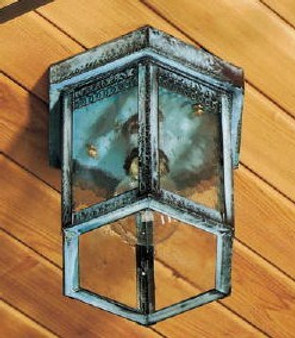 Hexagon Ceiling Light - Small Shown with Verde Green Finish, Seedy Glass and Gallery Detail