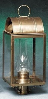 Arch Post Lantern - Large Shown with Antique Brass Finish; Only Available with Drawn Antique Glass
