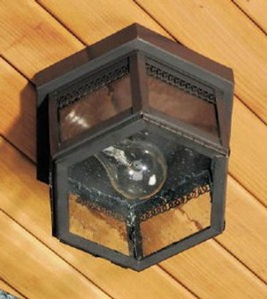 Hexagon Ceiling Light - Medium Shown with Gun Metal Finish, Seedy Glass and Gallery Detail