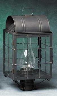 Arch Post Lantern - Medium Shown with Gun Metal Finish, Seedy Glass and H Wire Cage