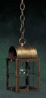 Arch Hanging Lantern - Small Shown with Antique Brass Finish, Seedy Glass and H Wire Cage
