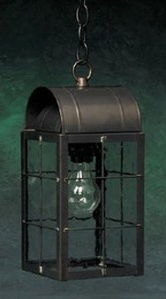 Arch Hanging Lantern - Medium Shown with Gun Metal Finish, Seedy Glass and H Wire Cage