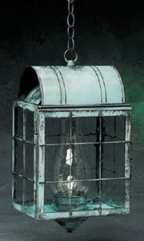 Arch Hanging Lantern - Large Shown with Verde Green Finish, Seedy Glass and H Wire Cage