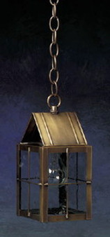 Triangle Hanging Lantern - Small Shown with Antique Brass Finish, Seedy Glass and H Wire Cage
