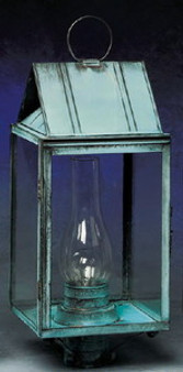 Triangle Post Lantern - Large Shown with Verde Green Finish; Only Available with Drawn Antique Glass