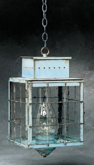 Pierced Square Hanging Lantern - Large Shown with Verde Green Finish, Seedy Glass and H Wire Cage