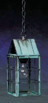 Triangle Hanging Lantern - Medium Shown with Verde Green Finish, Seedy Glass and H Wire Cage