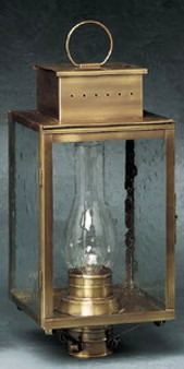 Pierced Square Post Lantern - Large Shown with Antique Brass Finish; Only Available with Drawn Antique Glass