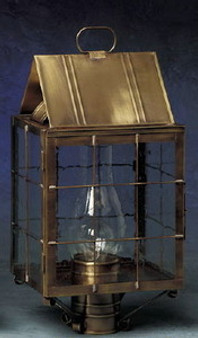 Triangle Post Lantern - Medium Shown with Antique Brass Finish, Seedy Glass and H Wire Cage