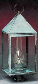 Pyramid Post Lantern - Large Shown with Verde Green Finish; Only Available with Drawn Antique Glass