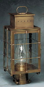 Pierced Square Post Lantern - Small Shown with Antique Brass Finish, Seedy Glass and H Wire Cage
