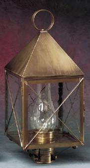 Pyramid Post Lantern - Medium Shown with Brass Finish, Seedy Glass, X Wire Cage