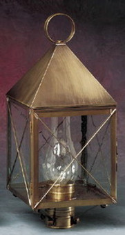 Pyramid Post Lantern - Medium Shown with Brass Finish, Seedy Glass, X Wire Cage