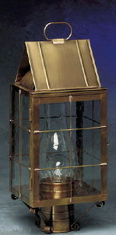 Triangle Post Lantern - Small Shown with Antique Brass Finish, Seedy Glass, H Wire Cage