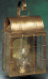 Arch Wall Lantern - Large Shown with Antique Brass Finish, Seedy Glass, H Wire Cage and Arch Bracket