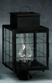 Pierced Square Post Lantern - Medium Shown with Black Finish, Seedy Glass and H Wire Cage