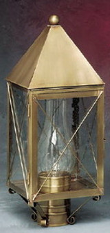 Pyramid Post Lantern - Small Shown with Antique Brass Finish, Seedy Glass and X Wire Cage