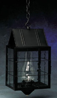 Triangle Hanging Lantern - Large Shown with Black Finish, Seedy Glass and H Wire Cage