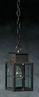Pierced Square Hanging Lantern - Small Shown with Gun Metal Finish, Seedy Glass and H Wire Cage