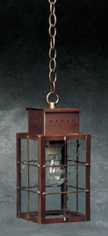 Pierced Square Hanging Lantern - Medium Shown with Antique Copper Finish, Seedy Glass and H Wire Cage