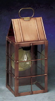 Triangle Wall Lantern - Medium Shown with Antique Copper Finish, Seedy Glass and H Wire Cage