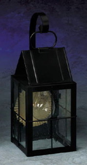 Triangle Wall Lantern - Small Shown with Black Finish, Seedy Glass, H Wire Cage and Arch Bracket