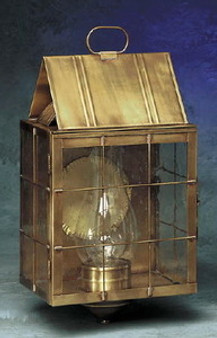 Triangle Wall Lantern - Large Shown with Antique Brass Finish, Seedy Glass and H Wire Cage