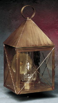 Pyramid Wall Lantern - Large Shown with Antique Brass Finish, Seedy Glass and X Wire Cage