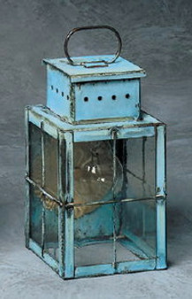 Pierced Square Wall Lantern - Small Shown with Verde Green Finish, Seedy Glass and H Wire Cage