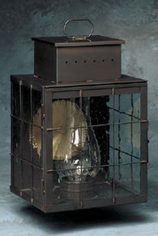 Pierced Square Lantern - Large Shown with Gun Metal Finish, Seedy Glass and H Wire Cage