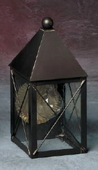 Pyramid Wall Lantern - Small Shown with Gun Metal Finish, Seedy Glass and X Wire Cage