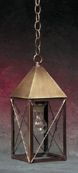 Pyramid Hanging Lantern - Medium Shown with Antique Brass Finish, Seedy Glass and X Wire Cage