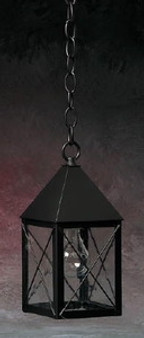 Pyramid Hanging Lantern - Small Shown with Gun Metal Finish, Seedy Glass and H Wire Cage