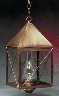 Pyramid Hanging Lantern - Large Shown with Antique Brass Finish, Seedy Glass and X Wire Cage