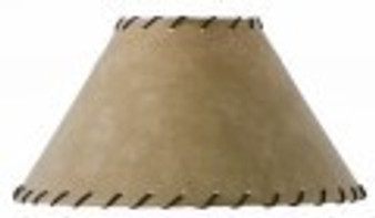 """Parchment Table Lamp 15"""" Shade with Leather Trim"""