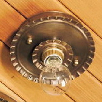 Crimped Round Ceiling Light - Small Shown with Antique Brass Finish