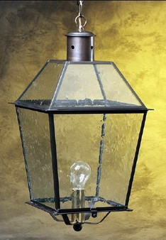 Trapezoid Hanging Lantern - Large Shown with Gun Metal Finish, Glass Top and Seedy Glass