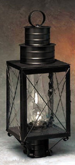 Williamsburg Post Lantern - Small Shown with Black Finish, Seedy Glass and X Wire Cage