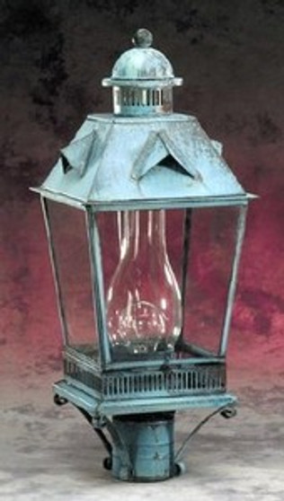 Trapezoid Detailed Post Lantern - Large Shown with Verde Green Finish